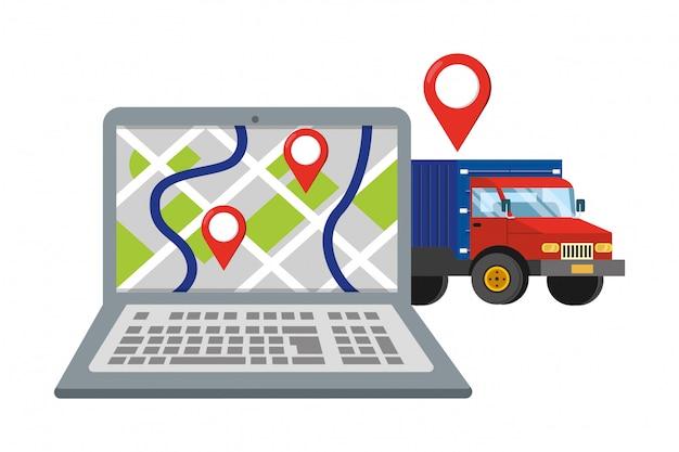 トラックのベクトル図とラップトップ Premiumベクター