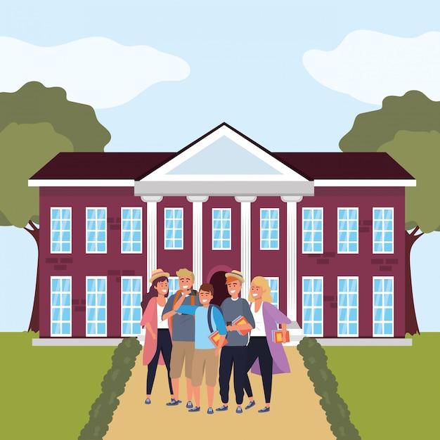 キャンパスのミレニアル世代の学生グループ Premiumベクター