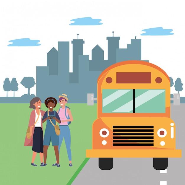 学生多様なグループバス停 Premiumベクター