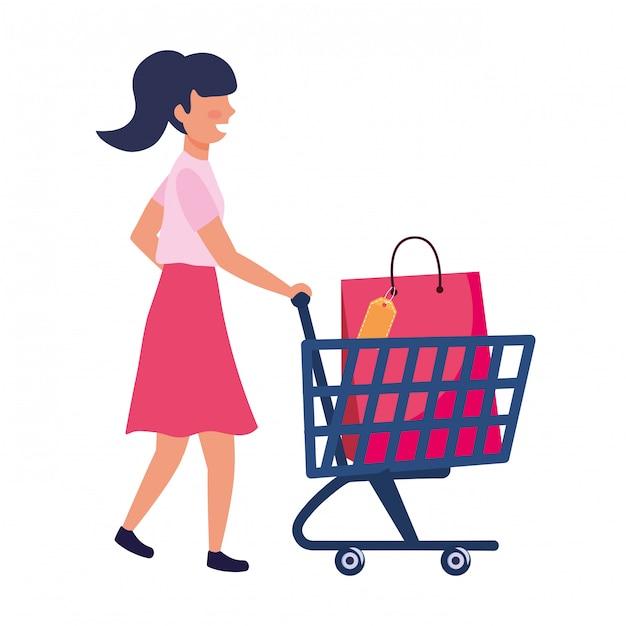 ショッピングバッグアイコンイラストの女性 Premiumベクター