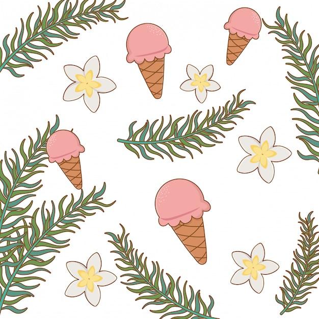夏と休暇のテーマ、アイスクリーム、花、葉 Premiumベクター