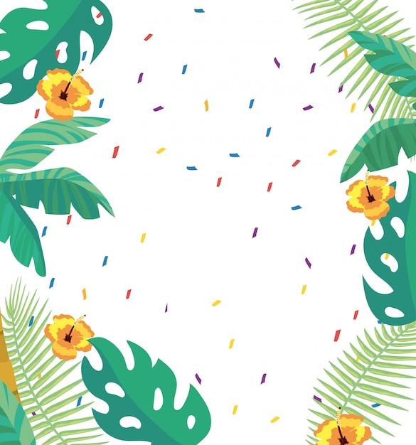 Тропические листья и цветы фон Premium векторы