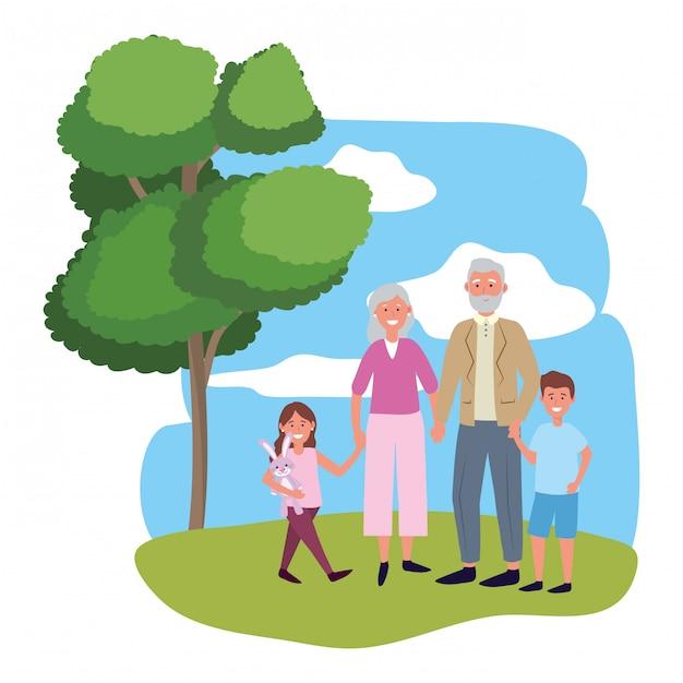 子供と老夫婦 Premiumベクター