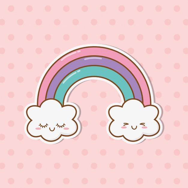 虹と雲 Premiumベクター