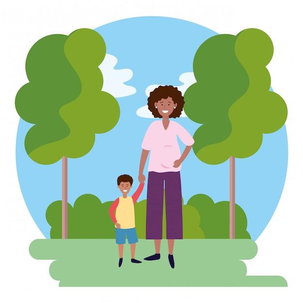 子供と妊娠中の女性の丸いアイコン Premiumベクター