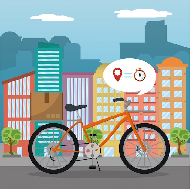 都市配達サービスベクトルイラストレーター Premiumベクター