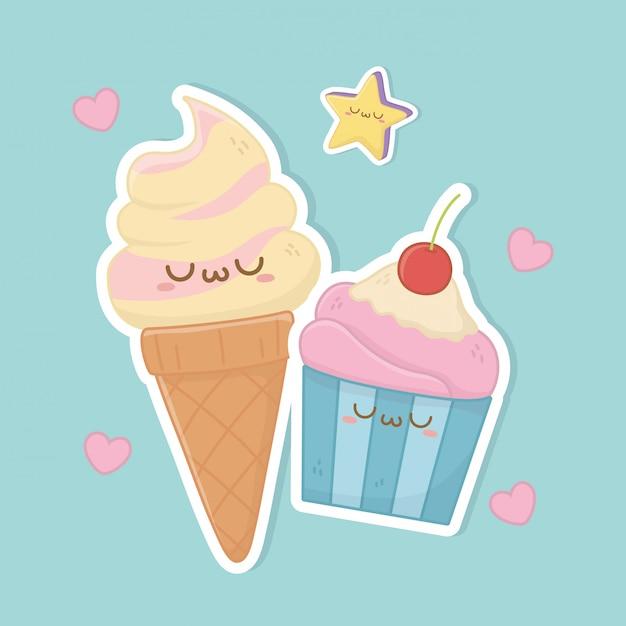 Мороженое и кекс каваи символов Premium векторы