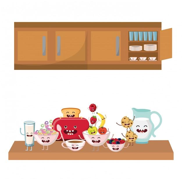 おいしいカワイイ朝食漫画 Premiumベクター