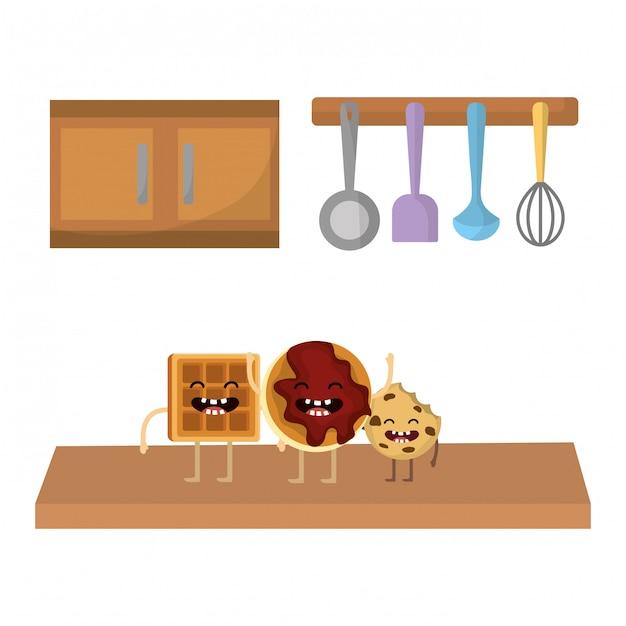 Мультфильм сладкое печенье Premium векторы