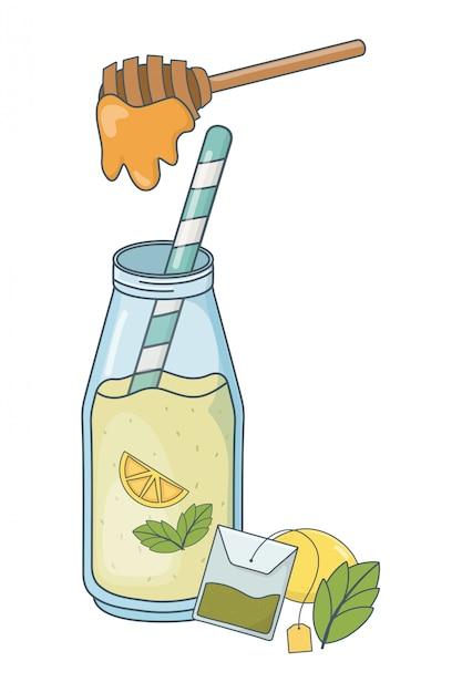 おいしい健康的な食事漫画 Premiumベクター