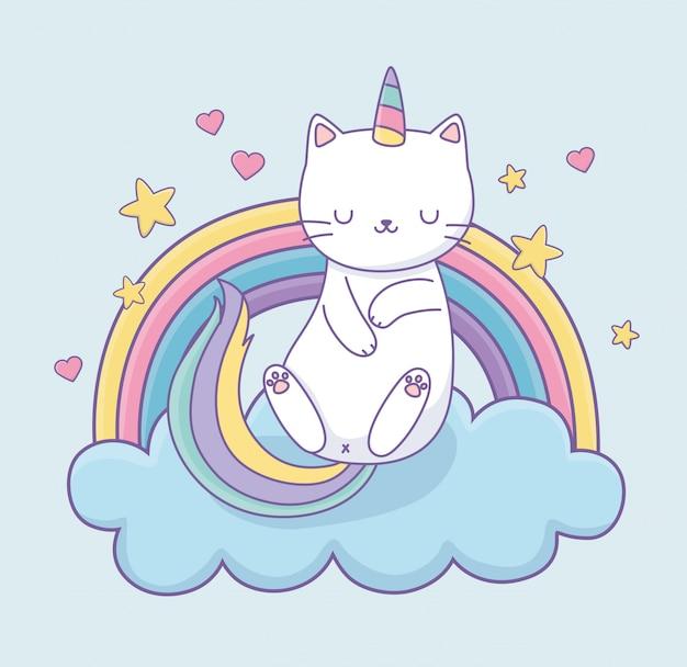 Милый кот с радужным хвостом на облаках каваий персонаж Premium векторы
