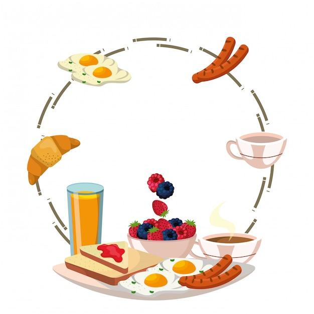 おいしいおいしい朝食フレーム漫画 Premiumベクター