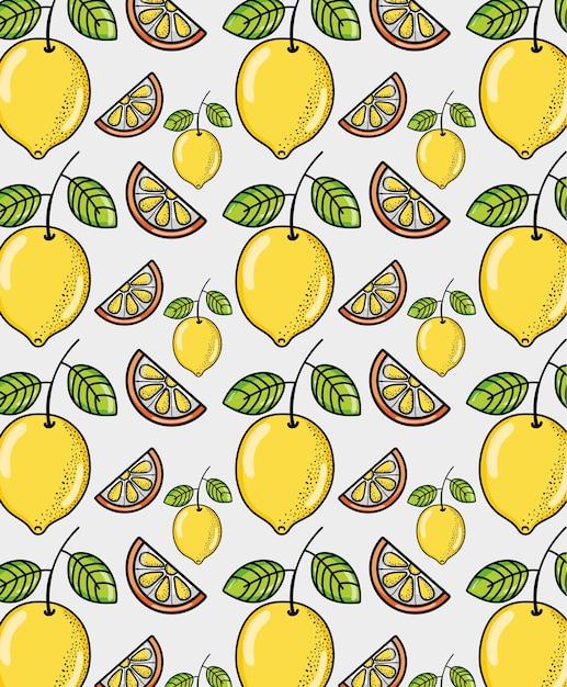 かわいいレモンの背景ベクトルイラストのグラフィックデザイン ベクター