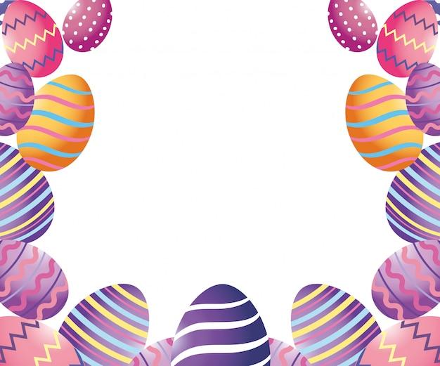 Мультфильм пасхальные яйца Premium векторы