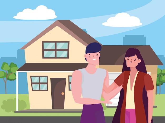 Пара женщина и мужчина мультфильм Premium векторы