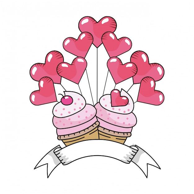 バレンタインデーベーカリーカップケーキ漫画 Premiumベクター