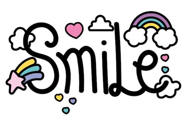 Слово улыбка Premium векторы