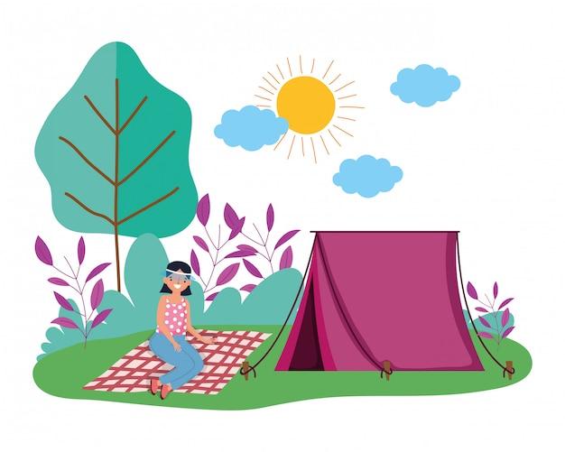 テントとキャンプ Premiumベクター