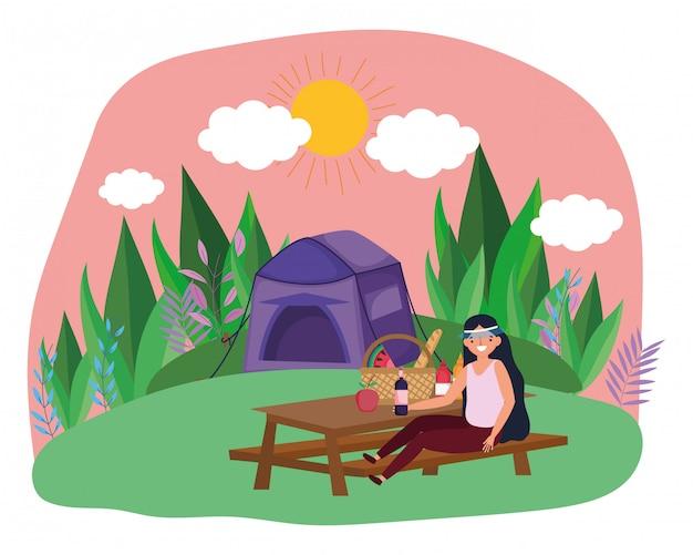 テントと女性の漫画 Premiumベクター