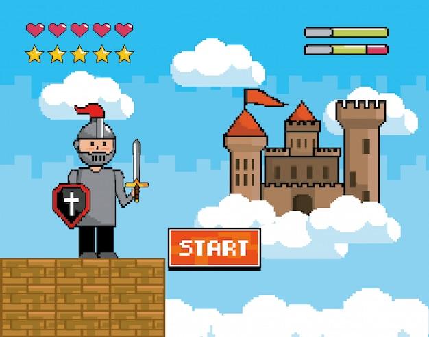 Сэр мальчик со щитом и мечом с замком и слитками жизни Premium векторы
