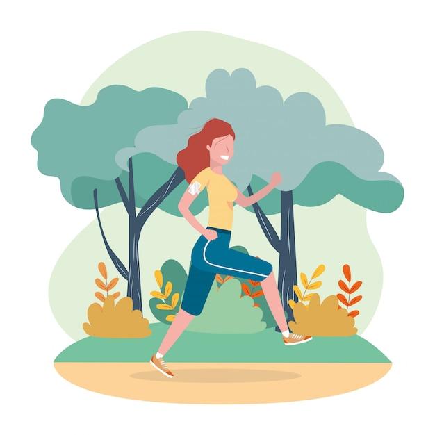 女性練習ランニング運動活動 Premiumベクター
