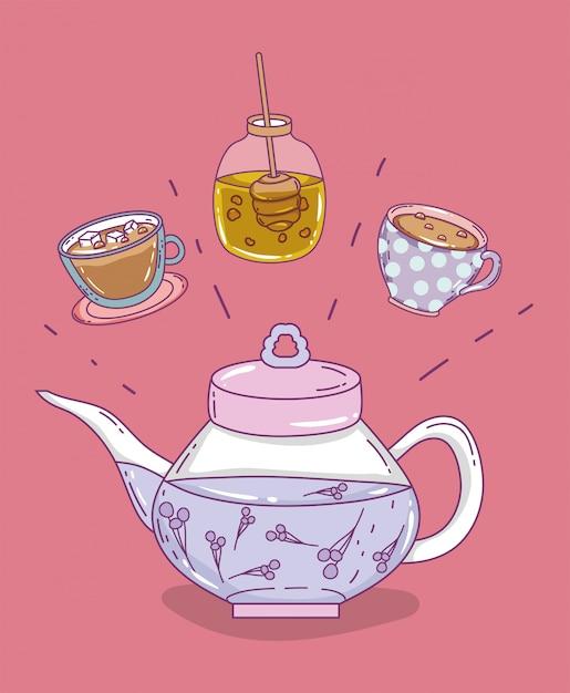 Эскиз времени чая плоский Premium векторы