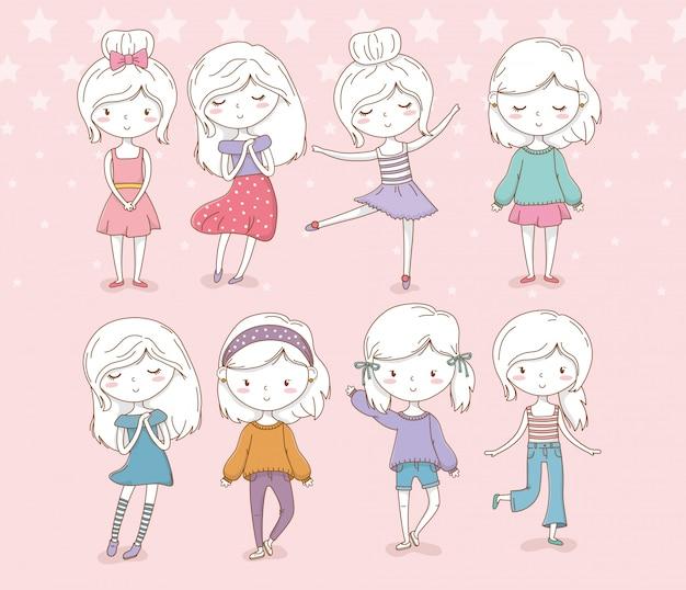 Группа красивых маленьких девочек в пастельных тонах Premium векторы