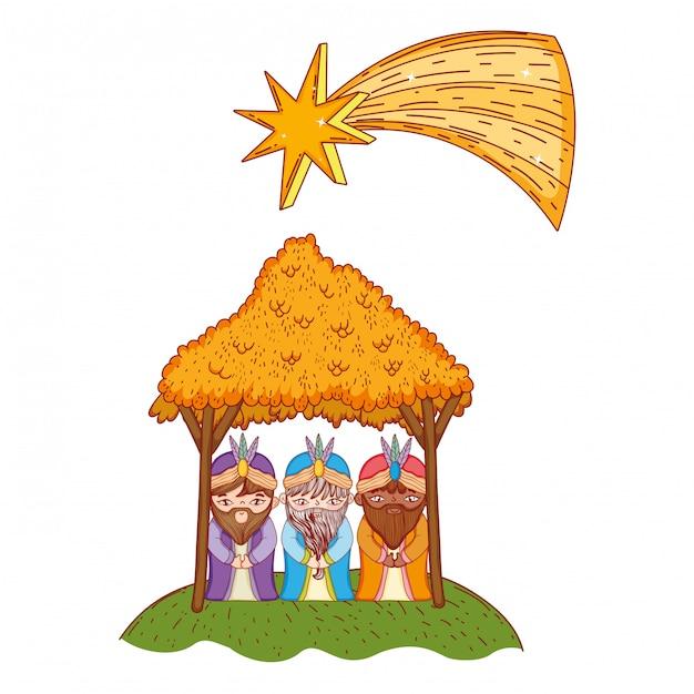 クリスマスのキリスト降誕のシーンの漫画 Premiumベクター