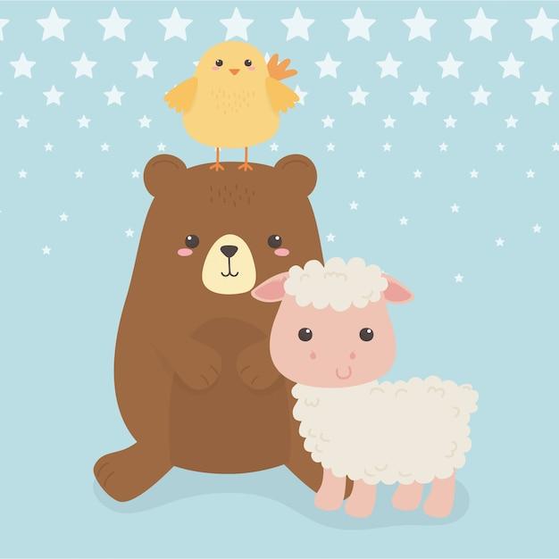 Милый медведь и овца с персонажами фермы Premium векторы