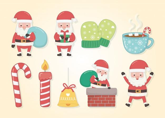 アイコンを設定してメリーメリークリスマスカード Premiumベクター