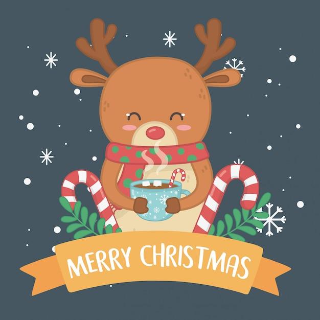 Веселая рождественская открытка с оленем Premium векторы