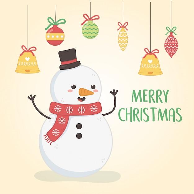 Веселая рождественская открытка со снеговиком Premium векторы