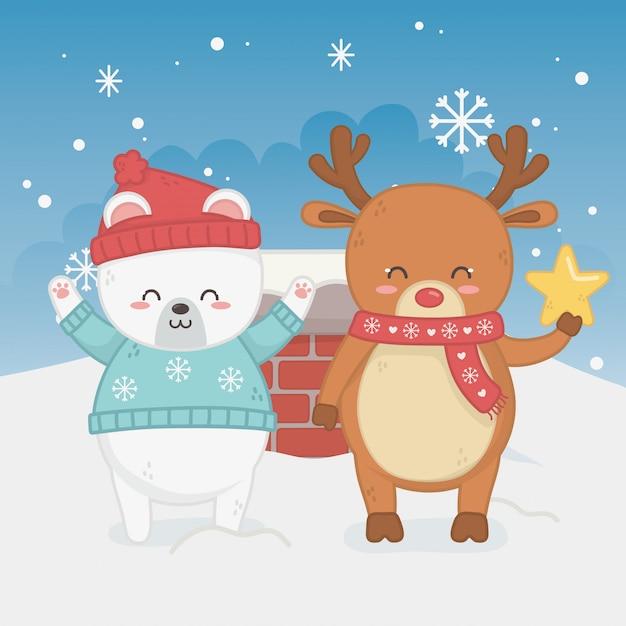 Счастливая веселая рождественская открытка с медвежонком тедди и оленем Premium векторы