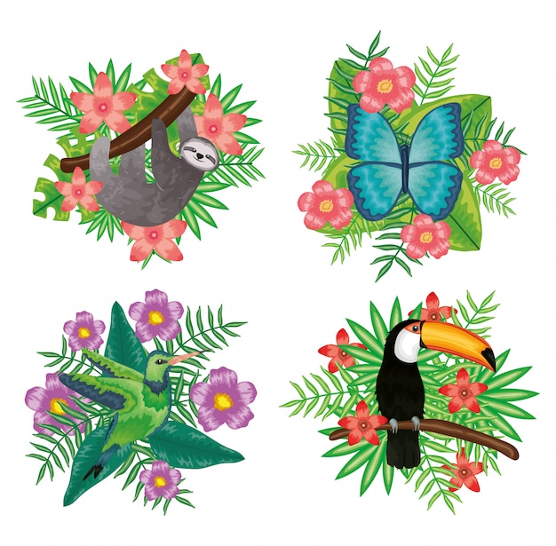 熱帯の花飾り付きの美しい動物のセット Premiumベクター