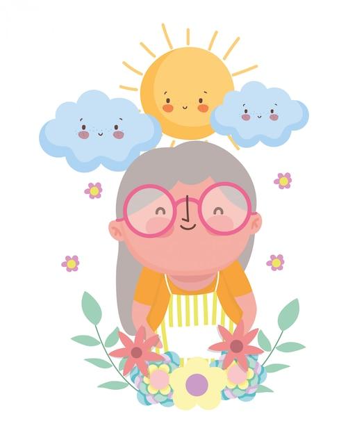 祖母の漫画のキャラクター Premiumベクター