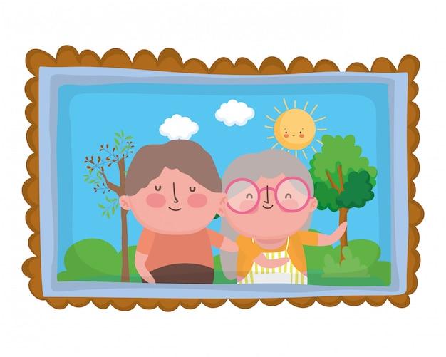 祖母と祖父の漫画のキャラクター Premiumベクター