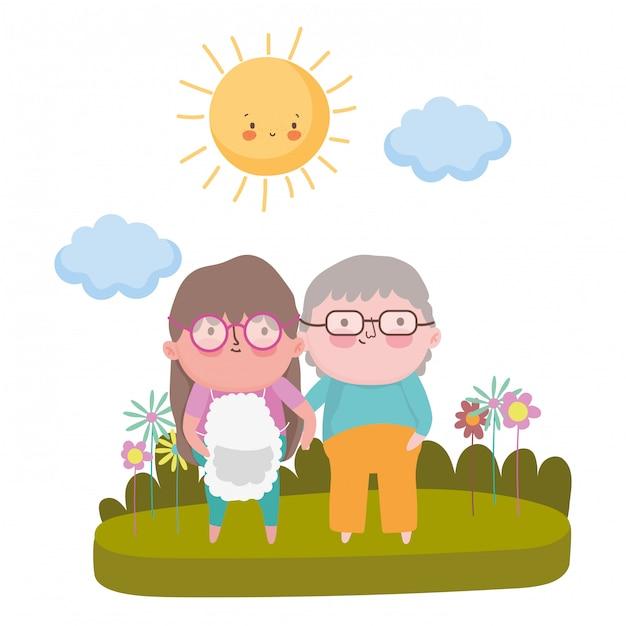 祖母と祖父の漫画 Premiumベクター