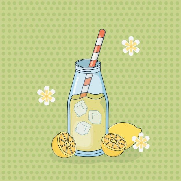 ストローでボトルにレモンジュースフルーツ Premiumベクター