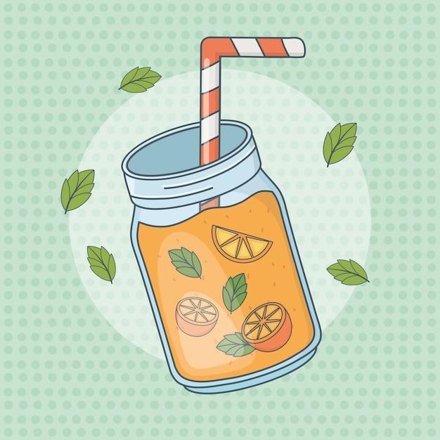 ストローで鍋にオレンジジュースフルーツ Premiumベクター