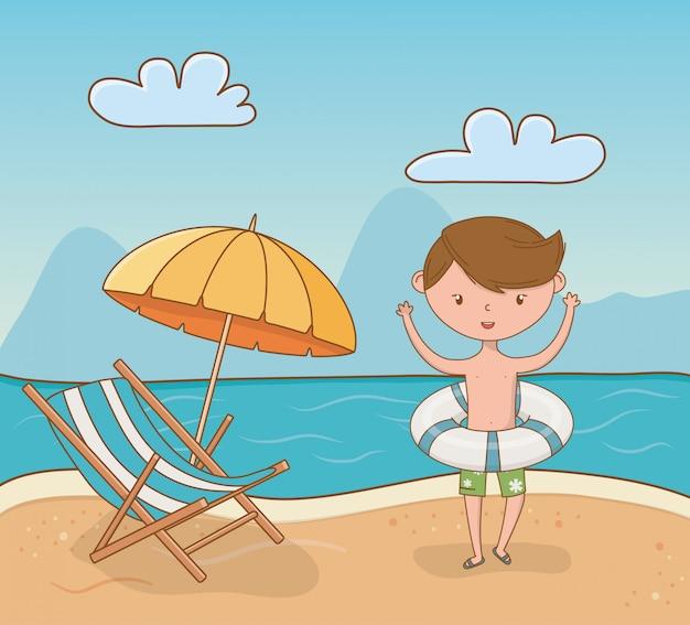 ビーチのシーンで若い男の子 Premiumベクター