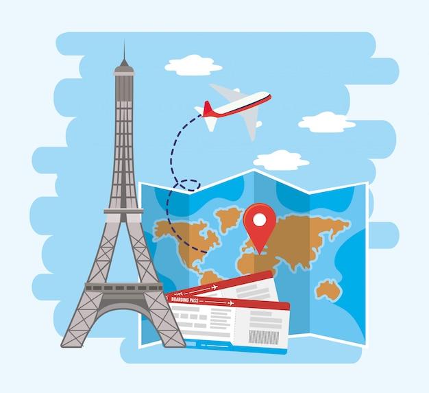 Эйфелева башня с глобальным расположением карты и билетами Premium векторы