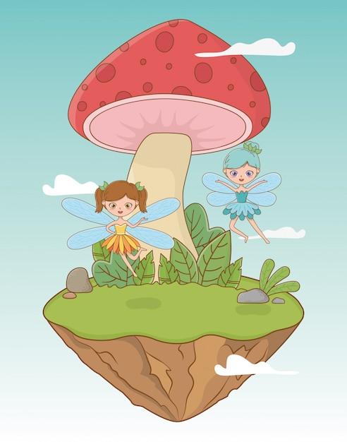 Сказочная пейзажная сцена с грибами и феями Premium векторы