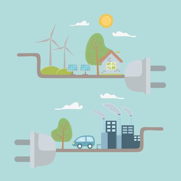 プラグインしてエネルギーを節約 Premiumベクター