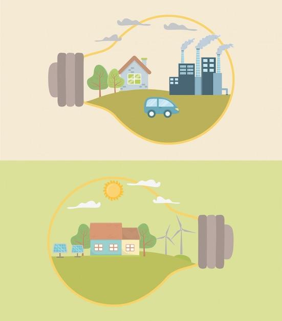 Лампочка и экономия энергии Premium векторы