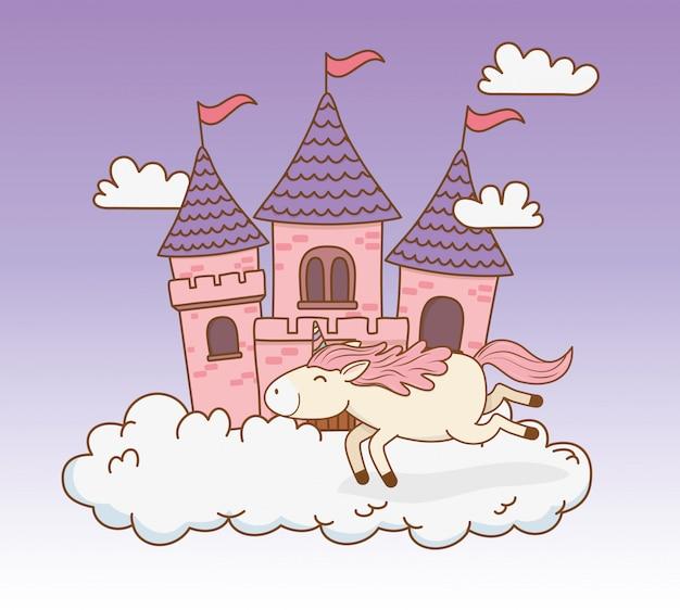 Милый сказочный единорог с замком в облаках Premium векторы