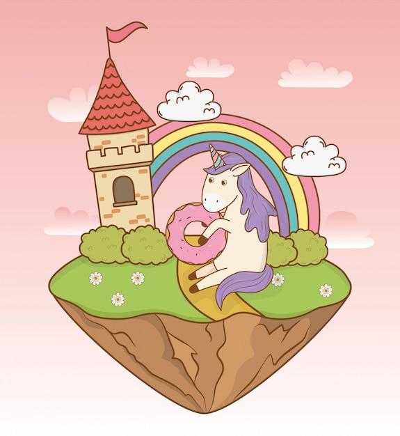 城と虹のかわいいおとぎ話ユニコーン Premiumベクター