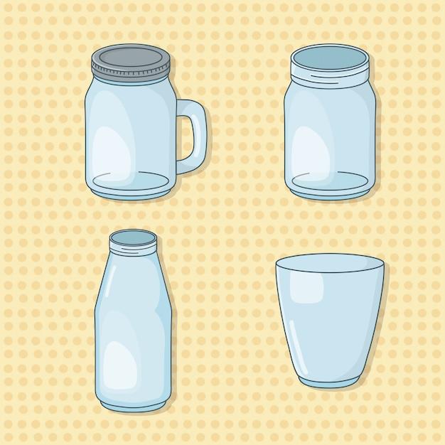 Набор стеклянных банок для напитков Premium векторы