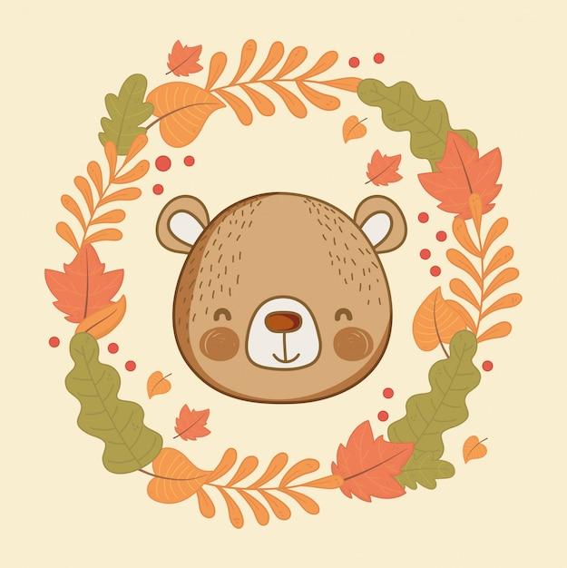かわいい動物の葉こんにちは秋 Premiumベクター