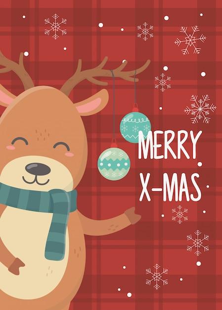 トナカイボールお祝いハッピークリスマス Premiumベクター