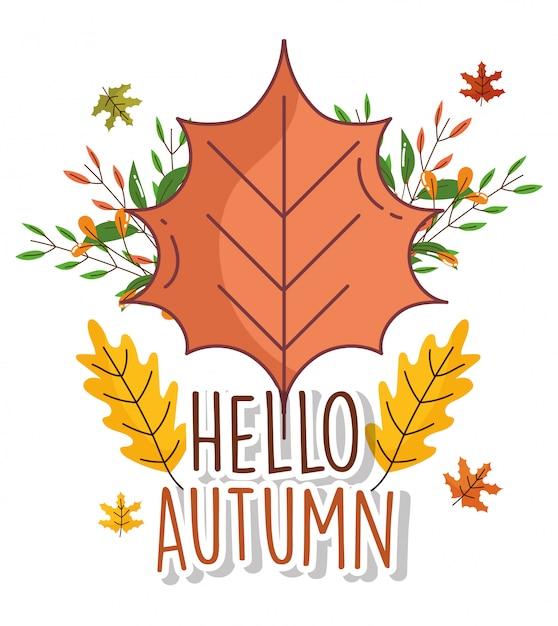 葉こんにちは秋のグリーティングカード Premiumベクター